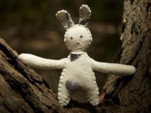 Felt rabbit in woods