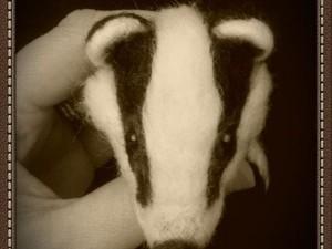 Needle felted badgers head