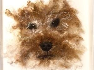 Felted dog in frame