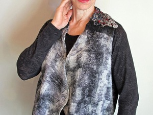Waist coat with grey and white detail made from felt