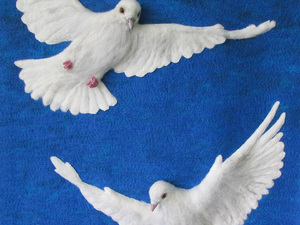 Doves of Peace - Machine embellished and hand needle felted with mixed media detailing.