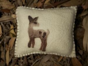 Needle felted deer cushion