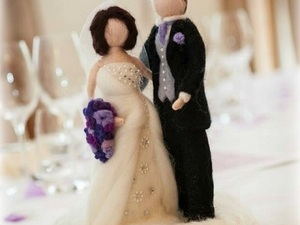Felted bride and groom wedding cake topper