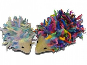 Multi-coloured hedgehogs made out of felt and yarn
