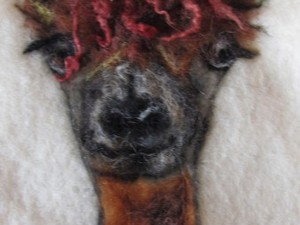 Sheep head on felt