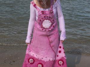 Needle felted long dress on beach
