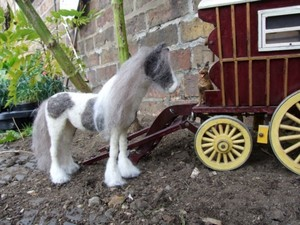 Felted horse by cart