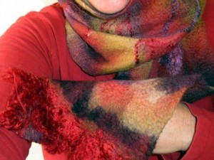 Red felted scarf