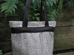 Black and grey wool handbag