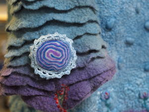 Close up of felted coat sleeve