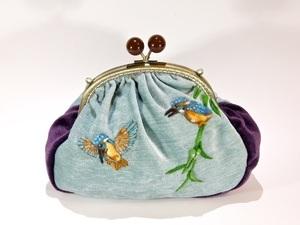 Felted bird clutch bag