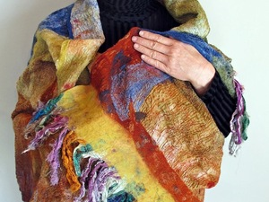 Multi-coloured felted scarf