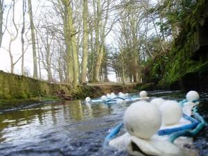 Felt balls in the river