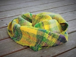 Green and yellow wool snood scarf