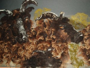 Barging sheep created by painting with wool