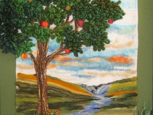 """Tree of Life - Needle felted using a combination of knitting yarns for texture and the very first """"given image"""" Joan created."""