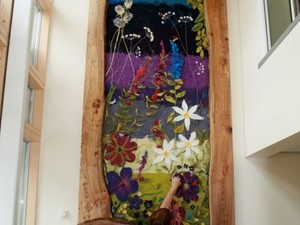 Extra large felted flower piece