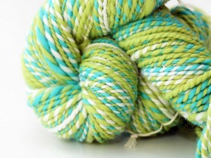 Green and blue yarn