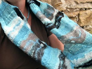 Sea blue felted scarf