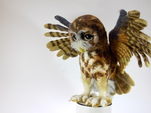 Felted owl spreading its wings