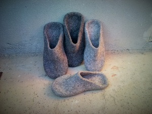 Selection of grey felted slippers