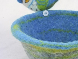 Felted bird and water bath