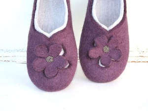 Purple felted flower slippers