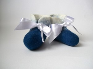 Baby boy felted booties with ribbon