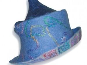 Blue felted hat