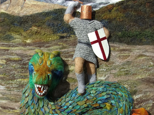 """George and Dragon """" Victory"""" - Needle felted 1m x 1.2m done in a mixture of merino and Jacobs fleece with copper detailing and crocheted chainmail armour."""