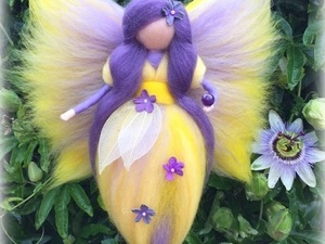 Yellow and purple felted fairy