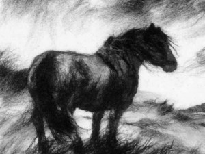 Close up of horse, a piece using black grey and white felt