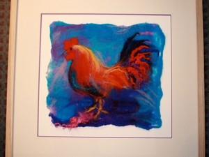 Cockerel in frame created using felt