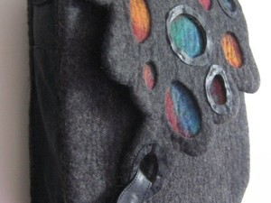 Grey felt bag with coloured insets