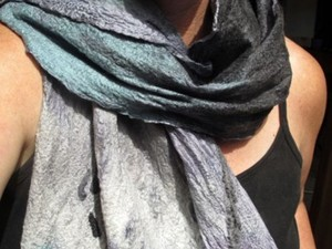 Felted silk and wool scarf