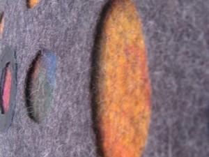 Close up of felt handbag