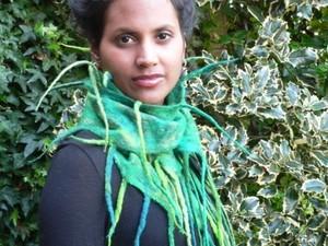 Green tassel felted scarf