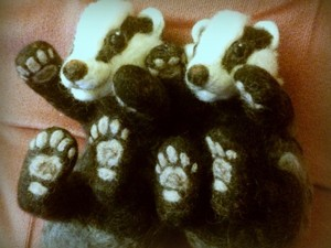 Twin felted badgers