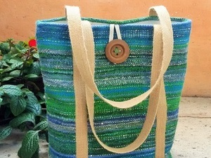Green and blue wool stripped tote bag with button detail