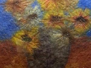 Wet felted sunflowers in vase