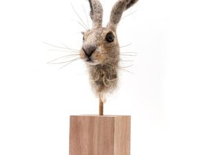 Felted hare on block stand