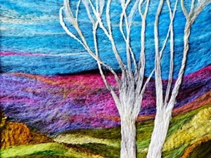 Colourful landscape design by felt