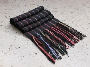 Multi-coloured wool tassel scarf