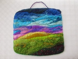 Landscape wall hanging made using felt