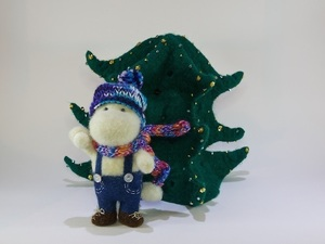 Felted Christmas tree and bear with hat and scarf