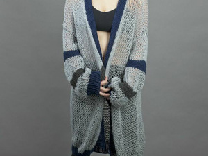 Long knitted wool cardigan