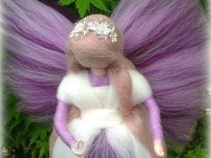 Stunning felted fairy with white and purple detail