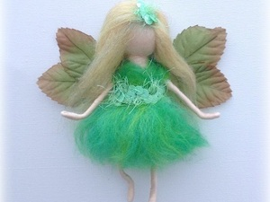 Felted green fairy with leaf wings