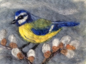 Blue Tit On Pussy Willow Loosely Wet Felted And Needle Felted Detail Added