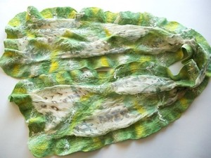 Green felted scarf